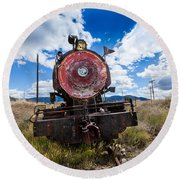 End Of The Line - Steam Locomotive Round Beach Towel