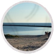 End Of The Pier Round Beach Towel