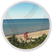 End Of The Season At Wendt Beach Park Round Beach Towel
