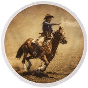 End Of Trail Mounted Shooting Round Beach Towel