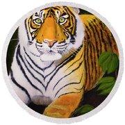 Endangered Bengal Tiger Round Beach Towel