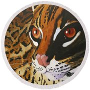 Endangered - Ocelot Round Beach Towel