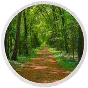 Endless Trail Into The Forest Round Beach Towel