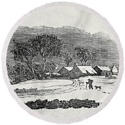 Endpiece, Late 18th Or Early 19th Century Wood Engraving 99;landscape; Winter; Figure; Snow; Snowy; Round Beach Towel