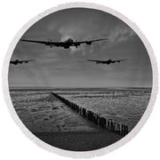 Enemy Coast Ahead Skipper Black And White Version Round Beach Towel