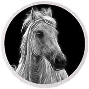 Energetic White Horse Round Beach Towel