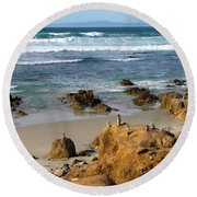 Energizing Seascape At Spanish Bay Round Beach Towel