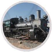 Engine 40 In The Colorado Railroad Museum Round Beach Towel