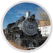 Engine 491 In The Colorado Railroad Museum Round Beach Towel
