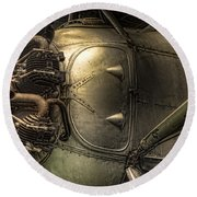 Radial Engine And Fuselage Detail - Radial Engine Aluminum Fuselage Vintage Aircraft Round Beach Towel by Gary Heller