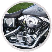 Engine Close-up 5 Round Beach Towel