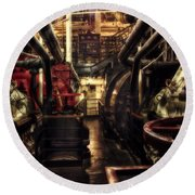 Engine Room Queen Mary 02 Sepia Round Beach Towel