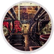 Engine Room Queen Mary 02 Round Beach Towel