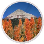 2d10688-engineer Mountain In Fall  Round Beach Towel