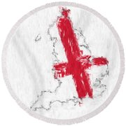 England Painted Flag Map Round Beach Towel