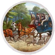 England Road Travel, 1880 Round Beach Towel