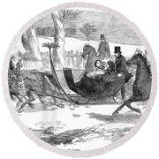England Royal Sledge, 1854 Round Beach Towel