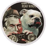 English Bulldog Art Canvas Print - Rear Window Movie Poster Round Beach Towel