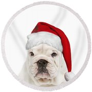 English Bulldog In Christmas Hat Round Beach Towel