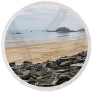 English Channel Beach Round Beach Towel