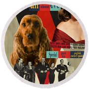 English Cocker Spaniel Art - All About Eve Round Beach Towel