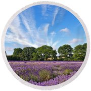English Lavender Fields In Hampshire Round Beach Towel