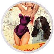 English Springer Spaniel Art Canvas Print - Doctor At Sea Movie Poster Round Beach Towel