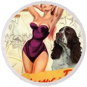English Springer Spaniel Art Canvas Print - Doctor At Sea Movie Poster Round Beach Towel