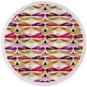 Enjoy Bliss Of Artistic Sensual Aura Lips  Kiss Romance Pattern Digital Graphic Signature   Art  Nav Round Beach Towel