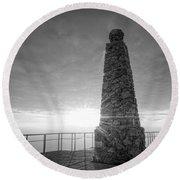 Ensign Peak Nature Park Bw Round Beach Towel