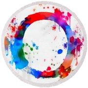Enso Circle Paint Splatter Round Beach Towel
