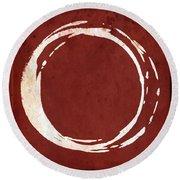 Enso No. 107 Red Round Beach Towel by Julie Niemela