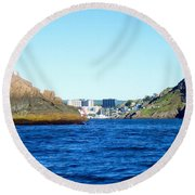 Entering The Narrows Near Fort Amherst Rock By Barbara Griffin Round Beach Towel