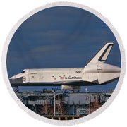 Enterprise At The Intrepid Round Beach Towel