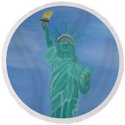 Enterprise On Statue Of Liberty Round Beach Towel by Vandna Mehta