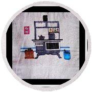 Enterprise Woodstove - Grey Round Beach Towel