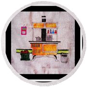 Enterprise Woodstove - Yellow Round Beach Towel by Barbara Griffin