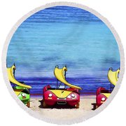 Three's Fun Round Beach Towel