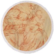 Enthroned Madonna And Child Round Beach Towel