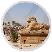 Entrance Sculpture By The Temple Of Karnak Round Beach Towel