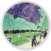 Entrance To A Large Garden In Dresden Round Beach Towel by Ernst Ludwig Kirchner