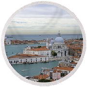 Entrance To Grand Canal Venice Round Beach Towel