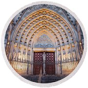 Entrance To The Barcelona Cathedral At Night Round Beach Towel