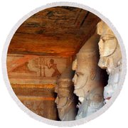 Entrance To The Great Temple Of Ramses II Round Beach Towel