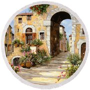 Entrata Al Borgo Round Beach Towel by Guido Borelli