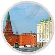 Entry Gate At Armory Museum Inside Kremlin Wall In Moscow-russia Round Beach Towel