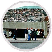Entry To Church In The Rock In Helsinki-finland Round Beach Towel
