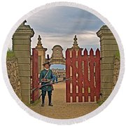 Entry To Fortress In Louisbourg Living History Museum-1744-ns Round Beach Towel
