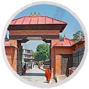 Entry To Pasupatinath Temple Of Cremation Complex In Kathmandu-nepal    Round Beach Towel