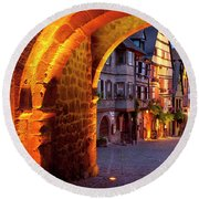 Entry To Riquewihr Round Beach Towel by Brian Jannsen